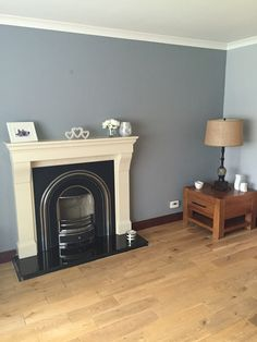 Dulux chic shadow with natural slate on accent wall.