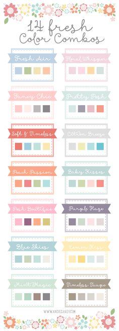 14 fresh, fresh color, color palettes, color combos, soft colors, room colors, angi sandi, colorful palette, colour palettes
