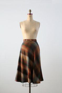 vintage 70s plaid skirt / aline wool skirt with by 86Vintage86, $250.00