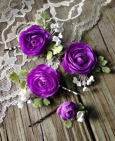 Purple wedding accessories, purple hair pins, bridal hair, purple hair clip, purple flower, A personal favorite from my Etsy shop https://www.etsy.com/listing/220116811/purple-bridal-hair-accessory-purple #purpleweddings #purple #hairpins #pupleflower #purple wedding #hair #hairaccessories