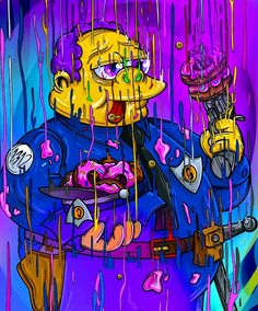Melting Chief Wiggum, The Simpsons Simpson Wallpaper Iphone, Trippy Wallpaper, Graffiti Wallpaper, Cartoon Wallpaper, Simpsons Drawings, Simpsons Art, Trippy Cartoon, Cartoon Art, Graffiti Art
