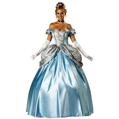 Elite Adult Enchanting Princess Costume ($195) ❤ liked on Polyvore featuring costumes, dresses, halloween costumes, multicolor, fairy princess costumes, adult costume, elite costume, cinderella costume and blue halloween costume