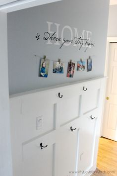 Great use of a wall to add storage. Entryway Wall, Board And Batten, Wall Organization, Wall Quotes, Organizing, Giveaway, Photo Wall, Shelves, Storage