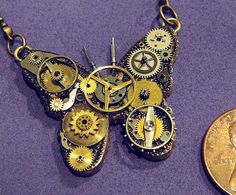 jewelry - tiny steampunk butterfly necklace - unique handmade