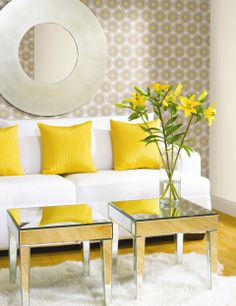 grey & yellow - love the pattern on wall