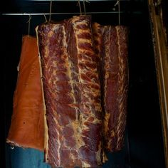 Would you like to make your own bacon, maybe have your own pigs. Three sides of free range bacon hanging in the large cold smoker Free Range, Smoking Meat, Pigs, Barbecue, Homestead, Bacon, The Cure, Smoke, Cold