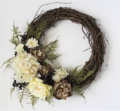 Large Front Door Wreath, Fern Grapevine Wreath, Neutral Brown Peony Flowers, Year Round Hydrangea Wreath, Rustic Cream and Brown Wreath by LoveJoyandWreaths on Etsy