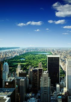 View across to Central Park from the Rockefeller Building, New York. By Stephen Wilkes