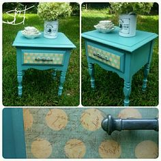 Turquoise painted side table with decoupage drawer http://sunbakedtreasuresblog.com