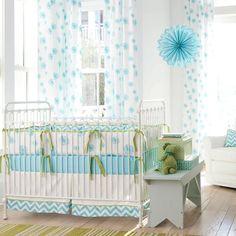 Aqua Dandelion Crib Bedding | Blue and White Dandelions and Zig Zag Stripes Baby Girl Crib Bedding | Carousel Designs