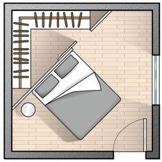 Cabina ad angolo. Il minimo indispensabile, per moduli adeguatamente capienti e con tutto quel che serve è un triangolo con i lati da allestire lunghi 215 cm. Si ricava in questo modo anche lo spazio per l'apertura sulla parete libera.