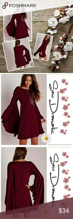 Selling this Wine Boho Style Bell Sleeve Tunic Dress Shirt in my Poshmark closet! My username is: sewdramatic. #shopmycloset #poshmark #fashion #shopping #style #forsale #Dresses & Skirts