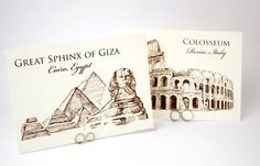 Wedding Table Cards  Famous Landmarks of the by WeddingMonograms, $3.50  Perhaps this instead of table numbers?