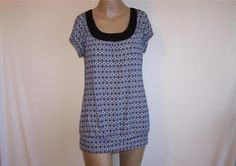 MAURICES Sz M Tunic Top Spandex Stretch Back Cut Out Short Sleeves #Maurices #Tunic #Casual