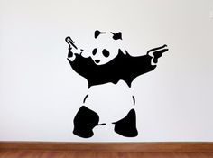 Banksy Wall Decal, Panda With Guns Inspired Removable Wall Decal
