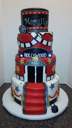 Hollywood themed quincenierra cake by Cake Me Away Cakery www.facebook.com/CakeMeAwayCakery