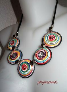 Polymer clay necklace made using an extruder, Polymeramoi.