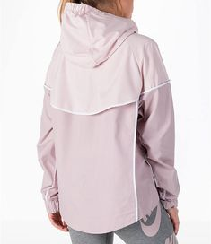 48b659ab2f2 Back Right view of Women s Nike Sportswear Woven Windrunner Jacket in Particle  Rose White Windrunner