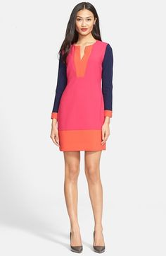 Diane von Furstenberg 'Millie' Colorblock Sheath Dress   A striking split-neck sheath dress proves it doesn't play favorites, opting instead for a rich color-blocked palette. Long sleeves make it a favorite throughout the seasons.