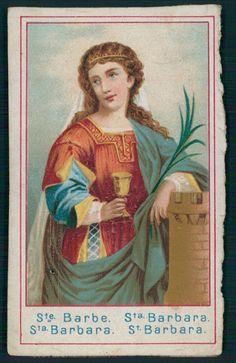 Antique HOLY CARD Vintage St Barbara chalice flower veil castle