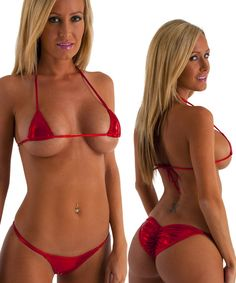 c61a194ca43f4 Brazilian Pucker Butt Bikini in Metallic Mystique Volcano Red