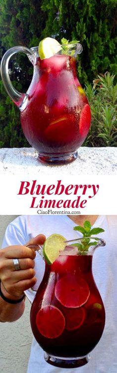 Blueberry Limeade Recipe with Honey and Blueberry Puree | CiaoFlorentina.com @Ci