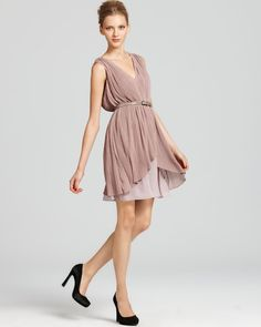 Max & Cleo Mauve Belted Pleated Dress | Bloomingdale's