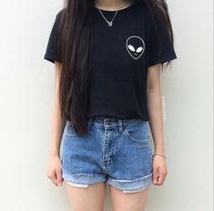 Außerirdische Shirt fremd Pocket Tee Tumblr Links Patch T-Shirt