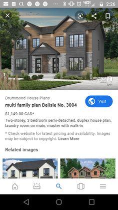 Drummond House Plans, Duplex House Plans, Laundry Room, Brick, Exterior, Mansions, House Styles, Ideas, Home Decor