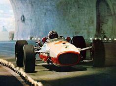 WEBSTA @ megadeluxe - John Surtees on Honda through the tunnel in Monaco. #grandprix #racing