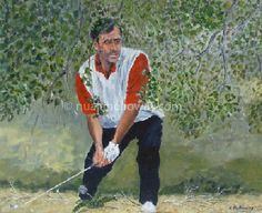 """Seve Ballesteros - Coming Out of the Wood"" by Nuala Holloway - Acrylic on Board #Golf #IrishArt #Portrait #Artwork"
