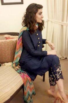 Blue Silk Trendy Punjabi Salwar Kameez