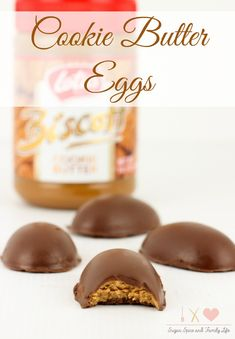 Cookie Butter Eggs are a delicious treat that is perfect for Easter. Instead of classic peanut butter eggs, make these cookie butter stuffed chocolate eggs for a candy dessert. - Cookie Butter Eggs Recipe on Sugar, Spice and Family Life