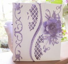 Lovely Lilac Bday card opens in middle by - Cards and Paper Crafts at Splitcoaststampers by dianne Paper Cards, Folded Cards, Marianne Design Cards, Crafters Companion Cards, Spellbinders Cards, Pretty Cards, Creative Cards, Greeting Cards Handmade, Scrapbook Cards