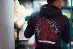Staying warm in our Gunshow Defend Southern Food Sweatshirt.