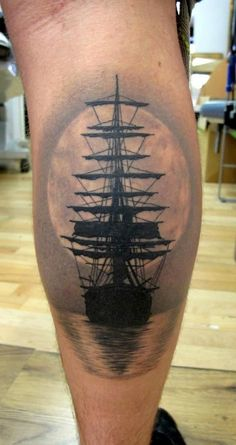 Ship tattoo, water, moon