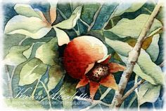 Peppermint Patty's Papercraft: Sunday Watercolors; Negative Painting - Pomegranate