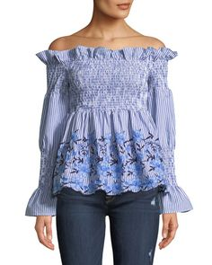 1e91a52293e3b Romeo and Juliet Couture - Smocked Off-the-shoulder Embroidered Blouse -  Lyst