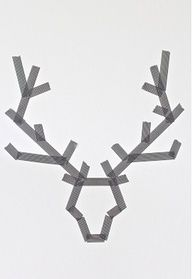 Christmas Art: Make Reindeer with tape on a canvas. Paint over it. Peel off tape.