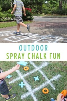 Play summer games with sidewalk chalk this year. These DIY games with Testors Spray Chalk are the pe Outdoor Games For Toddlers, Outdoor Party Games, Activities For Adults, Outdoor Activities For Kids, Fun Games For Kids, Summer Games, Outdoor Fun, Children Games, Summer Kids