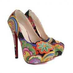 Ethnic Style Flower Print and Stiletto Heel Design Women's Pumps