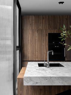 Australian Architecture, Interior Architecture, Kitchen Interior, Home Interior Design, Design Kitchen, Kitchen Ideas, Steel Frame Doors, Victorian Terrace House, Natural Stone Wall