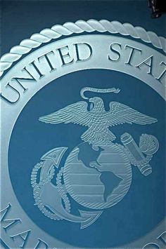 US Marine  Corps Seal Carved in Glass