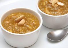 Indiai búzadara puding recept (Rava Kesari) recept foto Mulligatawny, Cheeseburger Chowder, Puding, Cantaloupe, Peanut Butter, Fruit, Food, Essen, Meals
