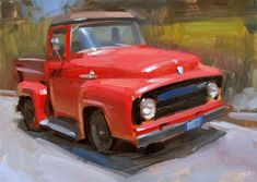 """Daily Paintworks - """"Red Ride"""" - Original Fine Art for Sale - © Carol Marine Car Painting, Artist Painting, Meaningful Paintings, Original Paintings, Small Paintings, Oil Paintings, Contemporary Paintings, Landscape Paintings, Landscapes"""