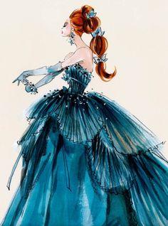 Croqui original do famoso vestido azul de America Singer em A Seleção, de Kiera Cass. Kiera e um estilista inglês criaram o desenho.