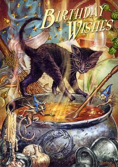 Black Cat Birthday Card by Briar Cauldron Capers Cat and Cauldron Greeting Card