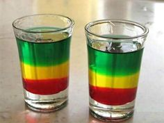 Great Cocktail Recipes: Bob Marley Shooter via Common Man Cocktails A smile comes to my face as I recall an evening trip to the swing bar last November and being welcomed into the group with one of these. Cocktail Drinks, Fun Drinks, Yummy Drinks, Cocktail Recipes, Alcoholic Drinks, Mixed Drinks, Beverages, Vodka Cocktails, Martinis