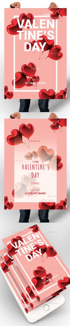Valentines Day Poster Template PSD