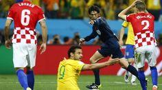 Big moment: referee Yuichi Nishimura of Japan awards Brazil a contentious penalty.